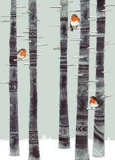 Robin Trees Art Print by Sandra Dieckmann