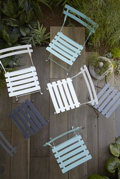 Fermob's latest colors: Lagoon Blue and Anthracite. Photo by Caitlin Atkinson for Flora Grubb Gardens