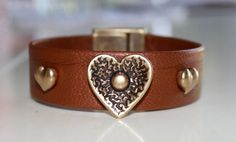 Leather Cuff Bracelet-Metallic Copper and Antiqued Brass-Heart Focal-Rivet-Screw-Magnetic Clasp-Size 7 1/2 Inch-Boho-Bohemian Chic-For Her