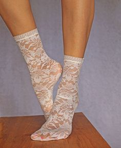Lace Socks. Beautiful Ivory Floral Design. Ankle Socks. Women's Socks. Lace Trim. by TatianasThreads on Etsy https://www.etsy.com/uk/listing/449297708/lace-socks-beautiful-ivory-floral-design