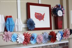 Patriotic Fireworks garland tutorial by I heart naptime. With different scrap paper, could be used for multiple holidays/seasons. Fourth Of July Decor, 4th Of July Decorations, 4th Of July Party, Diy Party Decorations, July 4th, Paper Decorations, Holiday Fun, Holiday Crafts, Holiday Ideas