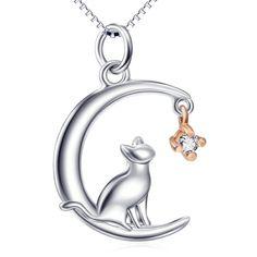 Collane con medaglione - Collana gatto e luna - un prodotto unico di Le-gemme-di-Hemet su DaWanda