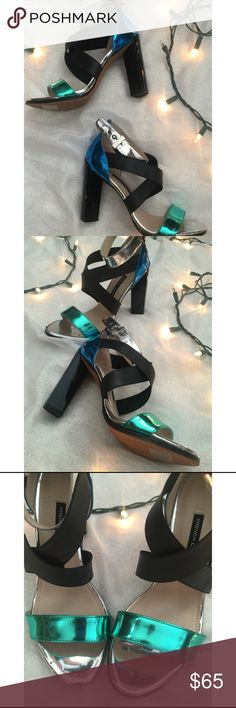 French Connection Heels French connection multicolored metallic heels. Never worn. Freaking adorable. Metallic chrome style. French Connection Shoes Heels