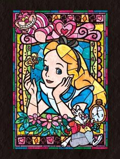Alice In Wonderland stained glass