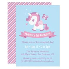 Cute Flying Magical Unicorn Girls Birthday Card - birthday invitations diy customize personalize card party gift
