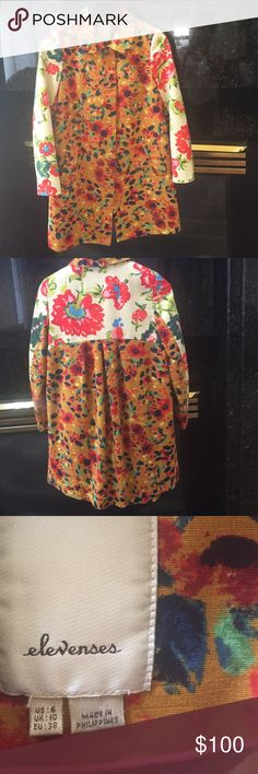 Anthropologie jacket. Price firm!  No lower Love this jacket!  The colors are so stunning!  It has a little swing style.  Soft cotton blue lining. Little pockets Anthropologie Jackets & Coats