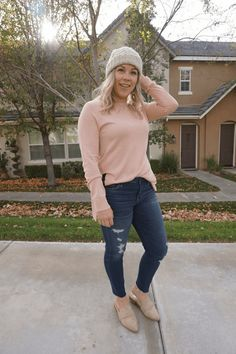 socal style | winter outfit | winter style | outfits for moms | mom style | blush pink | blush crush | distressed denim | beanie outfit | how to wear a beanie | everyday style | casual chic | everyday fashion | winter fashion | sweater outfit