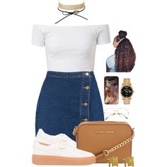 A fashion look from November 2016 featuring Boohoo skirts, Puma sneakers and Michael Kors shoulder bags. Browse and shop related looks.