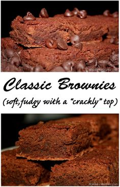 """Everyone needs a classic brownie recipe in their collection! Here's mine... it's perfect... soft and fudgy with that awesome """"crackly"""" top! From cakewhiz.com"""