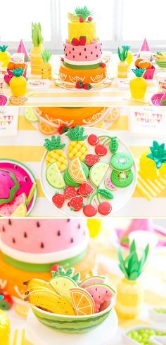 Two-tti Fruity Second Birthday Party! Adorable! http://Pizzazzerie.com