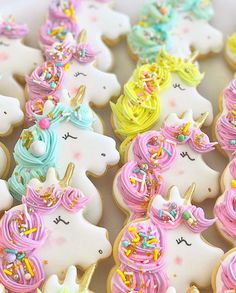 Unicorn cookies extraordinaire from the talented with the perfect dose of our Fancy Cookies, Iced Cookies, Cute Cookies, Sugar Cookies, Biscuit Cookies, Sugar Cookie Frosting, Royal Icing Cookies, Unicorn Sprinkles, Unicorn Foods