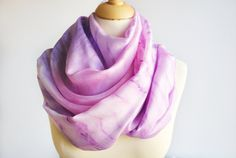 Hand Painted Silk Scarf Silk scarf rose lilla silk by OLHAVscarves