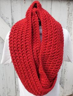 READY TO SHIP Large #RustRed #CrochetLoopScarf by GabbysQuilts #handmade