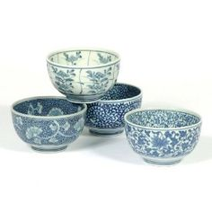 #9: Japanese Sometsuke Bowl Set includes 4 Bowls