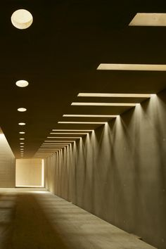 Photos and Videos 3 of 4 from project Crematorium Hofheide Holsbeek Lighting Concepts, Lighting Design, Corridor Lighting, Corridor Design, Retro Futuristic, Space Architecture, Built Environment, New York Travel, Brutalist
