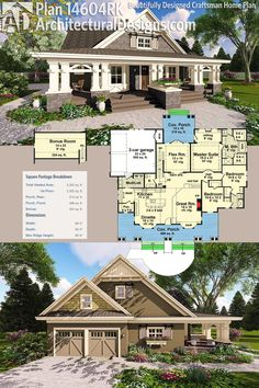 Architectural Designs Craftsman House Plan 14604RK  Lottery dream house