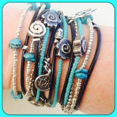 Boho Chic Leather Hamsa Wrap Bracelet with Silver and Turquoise Accents, Kabbalah Jewelry, Evil Eye Jewelry
