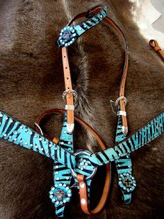 colorful pictures of western saddles | Bridle Western Leather Headstall Breastcollar Tack SET Turquoise Zebra ...