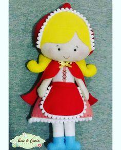 Chapeuzinho vermelho loirinha, em feltro. Decoração de aniversário