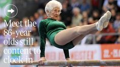"""For real?     """"This is Johanna Quaas, 86½ years young, training three times a week on parallel bars, horizontal bar and floor. Oh, and she swims 400 metres each weekend.    Rock on little lady!!!"""""""