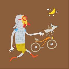 달빛여행...traveling on the moon #moon #friends #bicycle #dog #illustration