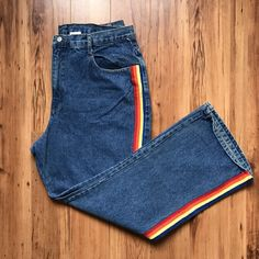 c166d33ecb3742 skinny jeans w/ red, yellow, blue track stripes 90s Aesthetic, Striped Jeans
