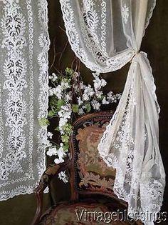 """Antique French Fleur de Lis TAMBOUR Net Lace Applique Pair Of Curtains 75x42"""""""