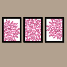 GLITTER Gold Wall Art, CANVAS or Prints Faux Pink Glitter Bathroom Pictures, Home Decor, Bedroom Artwork, Flower Burst Petals Set of 3 Dorm