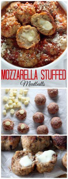 30-Minute Mozzarella Stuffed Turkey Meatballs with Homemade Marinara Sauce - sure to be a new favorite recipe!!!