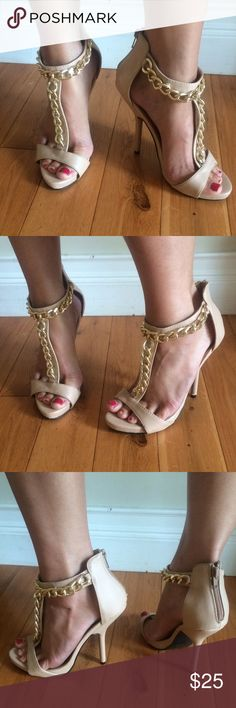 Gorgeous Charlotte Russe Nude/Gold chain heels Gorgeous Charlotte Russe Nude/Gold chain heels Charlotte Russe Shoes Heels