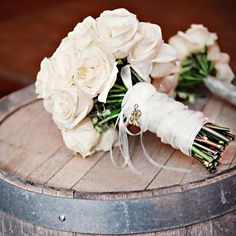 all white rose bouquet