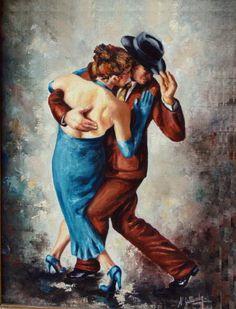 Tango en azul (Pintura),  21x31 cm por Lujan Gallardo Pareja en pose de tango