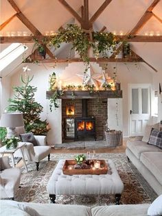 Oh my. Stove inserted in fireplace, barn-beam mantel, beams, nuetral, cozy, natural. Peace.