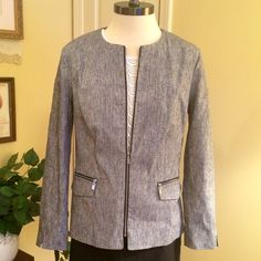 "Black & White Jacket by Laundry  NWOT Great black and white jacket by Laundry by Shelli Segal. Size 12. Zip front and zip pockets on front. Length measures approximately 25"". Never worn. Laundry by Shelli Segal Jackets & Coats Blazers"