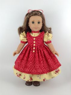 American Girl 18-inch Doll Clothes - Floral Prairie Dress & Pinafore in Yellow/Cherry Red