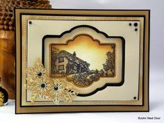 John Next Door Country Cottage stamp to die for Sue Wilson's dies Auvergne, Burgundy, Faux Quilled Flowers, Faux Quilled Leaves Distress Ink in Tea Dye, Antique Linen & Scattered Straw. Taupe, Black and Kraft Foundation Card
