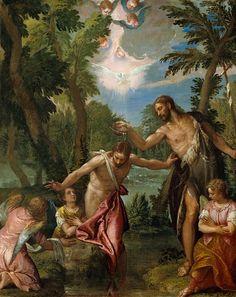 Веронезе (Паоло Кальяри) (Верона 1528 - 1588 Венеция) - Крещение Христа (105х88 см) 1580-88. Музей Гетти (J. Paul Getty Museum)