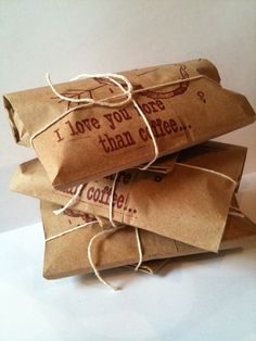 "Coffee Gift Set. Set of 3. Freshly roasted ""I Love You More Than Coffee"" by Apropos Roaster"