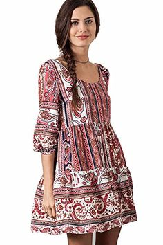 Umgee Peasant Tribal Babydoll Tunic Dress Small *** Details can be found by clicking on the image.
