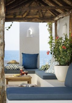 My inspiration today are these serene and stunningly beautiful Mediterranean patios. I'm completely in love with the amazing Mediterranean style :) Outdoor Rooms, Outdoor Living, Outdoor Furniture, Adirondack Furniture, Outdoor Life, Antique Furniture, Modern Furniture, Mediterranean Decor, Mediterranean Architecture