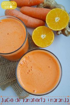 Jugo de zanahoria, naranja y jengibre – Pizca de Sabor Carrot, orange and ginger juice – Pinch of Flavor benefits of carrot and ginger juice of the Soul: Carrot juice, orangeCarrot and ginger juice is a very drink Healthy Juices, Healthy Smoothies, Healthy Drinks, Healthy Snacks, Healthy Eating, Juice Smoothie, Smoothie Drinks, Detox Drinks, Smoothie Recipes