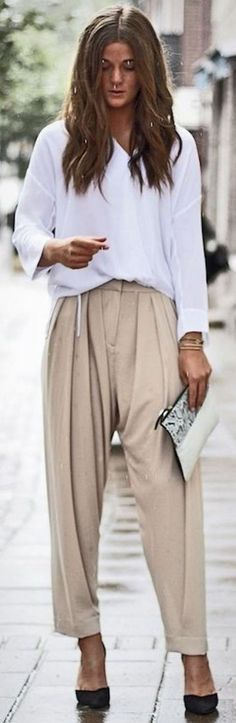 White Flowy Blouse, Beige Harem Pants, Gray and White Pouch, Black Stilettos | How To Dress Up A White Blouse | becoming Trendy #white