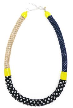 Neon Yellow Multi Necklace    Crystals, Silk, and Sports Jersey Necklace by Nektar De Stagni.