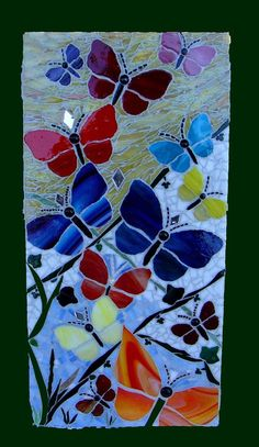 Butterfly Garden Original Mosaic Art Wall Hanging by zzbob on Etsy Stained Glass Panels, Stained Glass Patterns, Mosaic Patterns, Stained Glass Art, Mosaic Wall, Mosaic Glass, Mosaic Tiles, Glass Butterfly, Craft Ideas