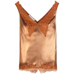 Stella McCartney Lamé and Lace Camisole ($1,430) ❤ liked on Polyvore featuring intimates, camis, brown, stella mccartney, brown lace cami, brown camisole, lace camis and lacy cami