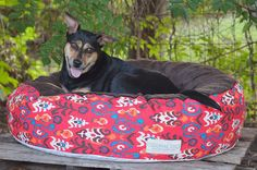 Check out Pet Pouf with Pet Pouf Cover | Round Pet Bed | Cat Bed | Dog Bed | Brown Minky Pet Bed Top | Red Pet Bed | Washable Cover | S, M, L Sizes on originaldigsllc