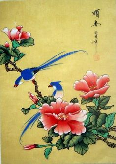 Japanese Scroll Bird Painting | Asian Japanese Hand Painted Silk Painting Flower & Bird @1032 photo