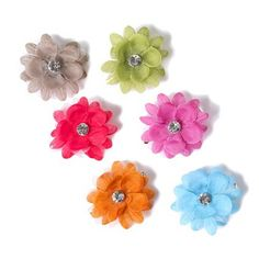 When it comes to flowers this season, #moreismore! Glitter Flower with Gem Hair Clips Set of 6