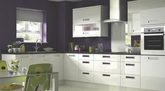 kitchen colours--purple, green and white