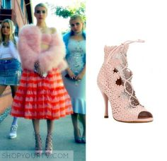 Chanel Oberlin on Scream Queens 2x05 wears this Tabitha Simmons heels with a Christopher Bu skirt